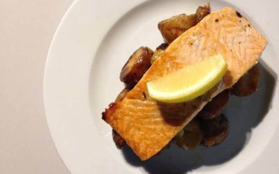 Salmon Steak with Chilli Roast Potatoes